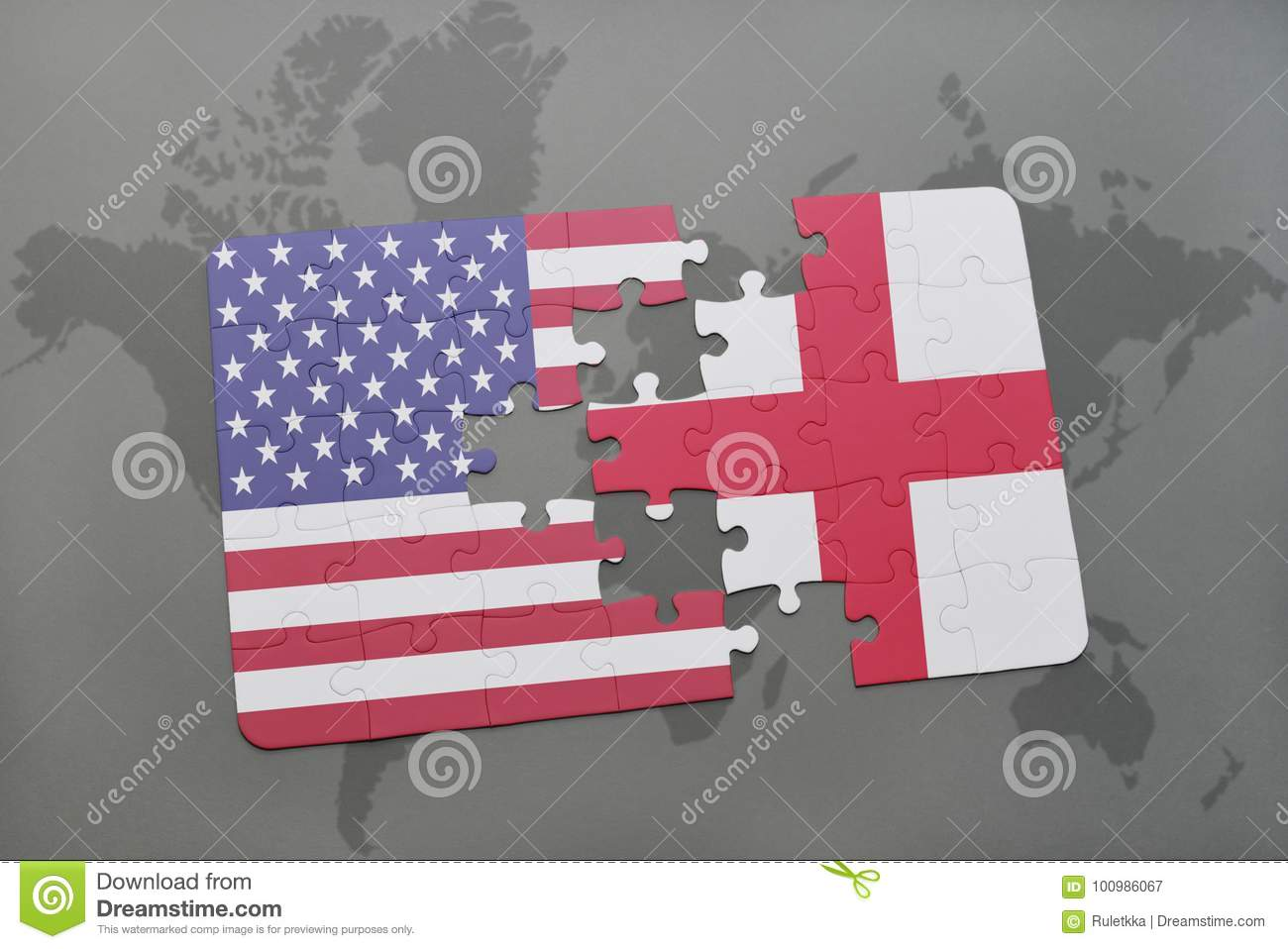 Puzzle with the national flag of united states of america and download puzzle with the national flag of united states of america and england on a world gumiabroncs Images