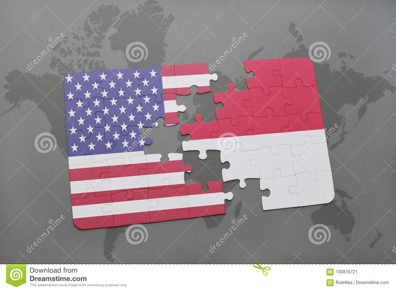 puzzle with the national flag of united states of america and indonesia on a world map background