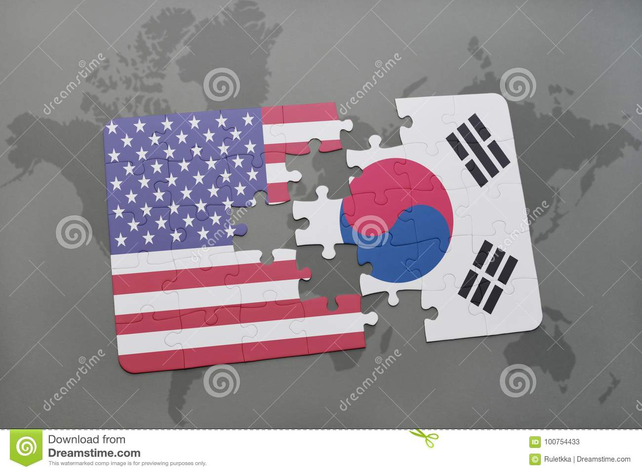 puzzle with the national flag of united states of america and south korea on a world map background