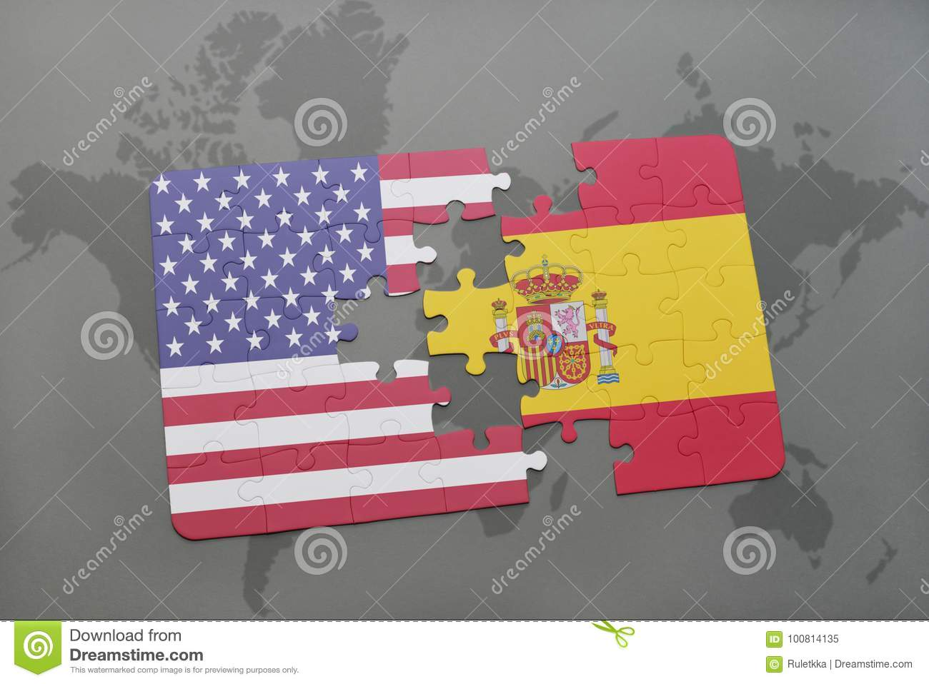 Puzzle With The National Flag Of United States Of America And Spain