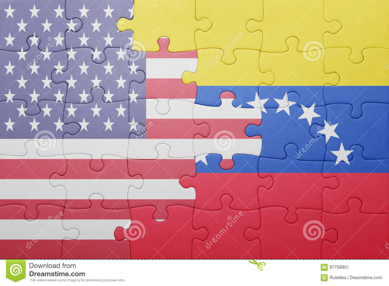 Puzzle with the national flag of united states of america and venezuela