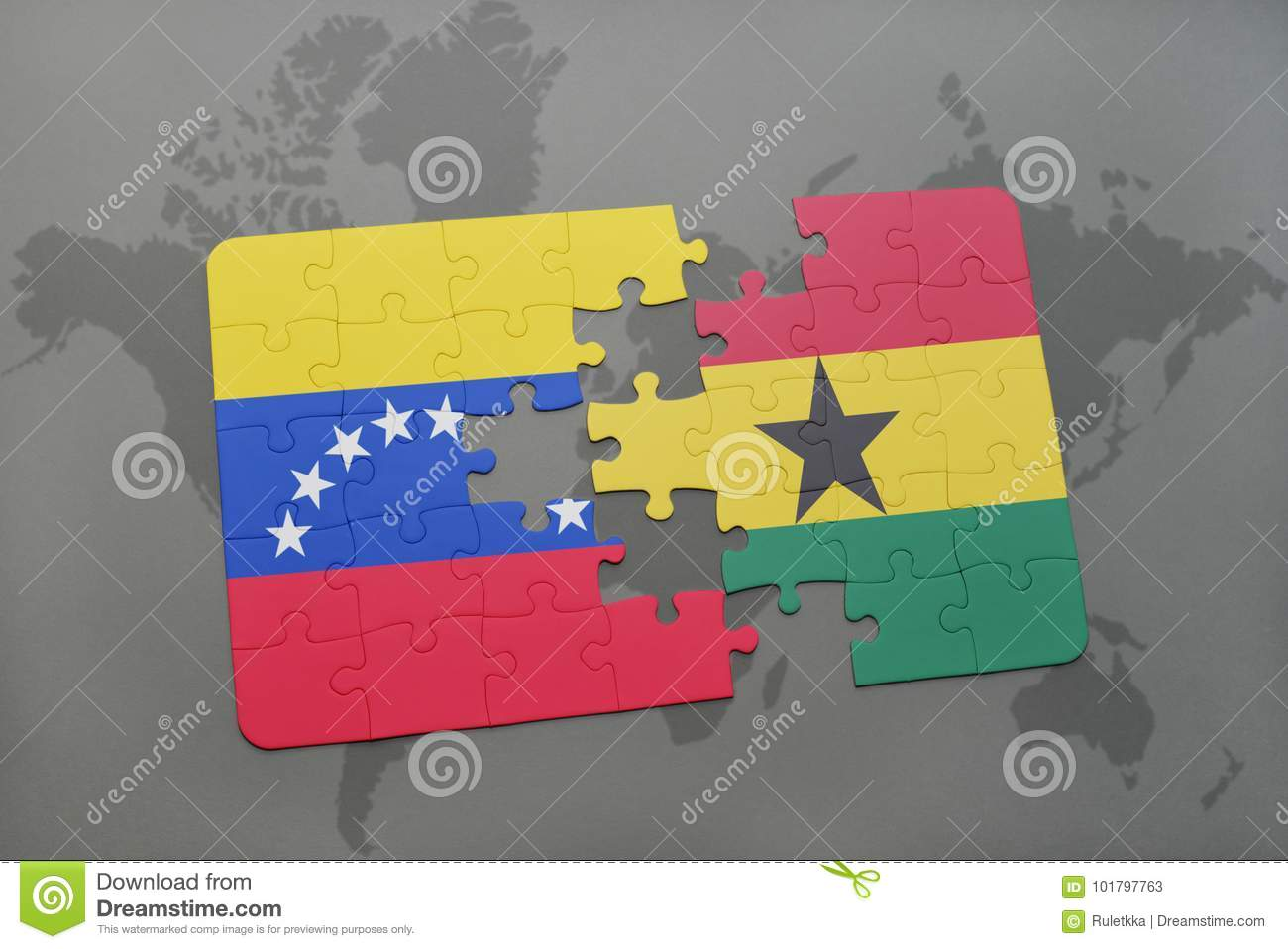 Ghana On A World Map.Puzzle With The National Flag Of Venezuela And Ghana On A World Map