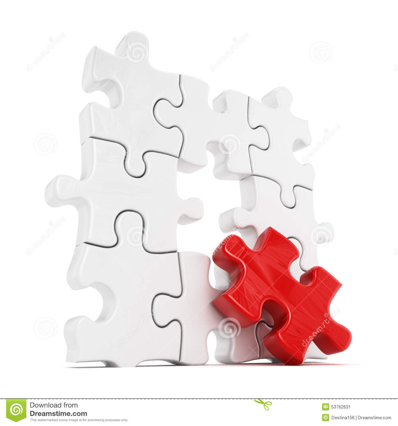 puzzle with one red part missing stock illustration illustration
