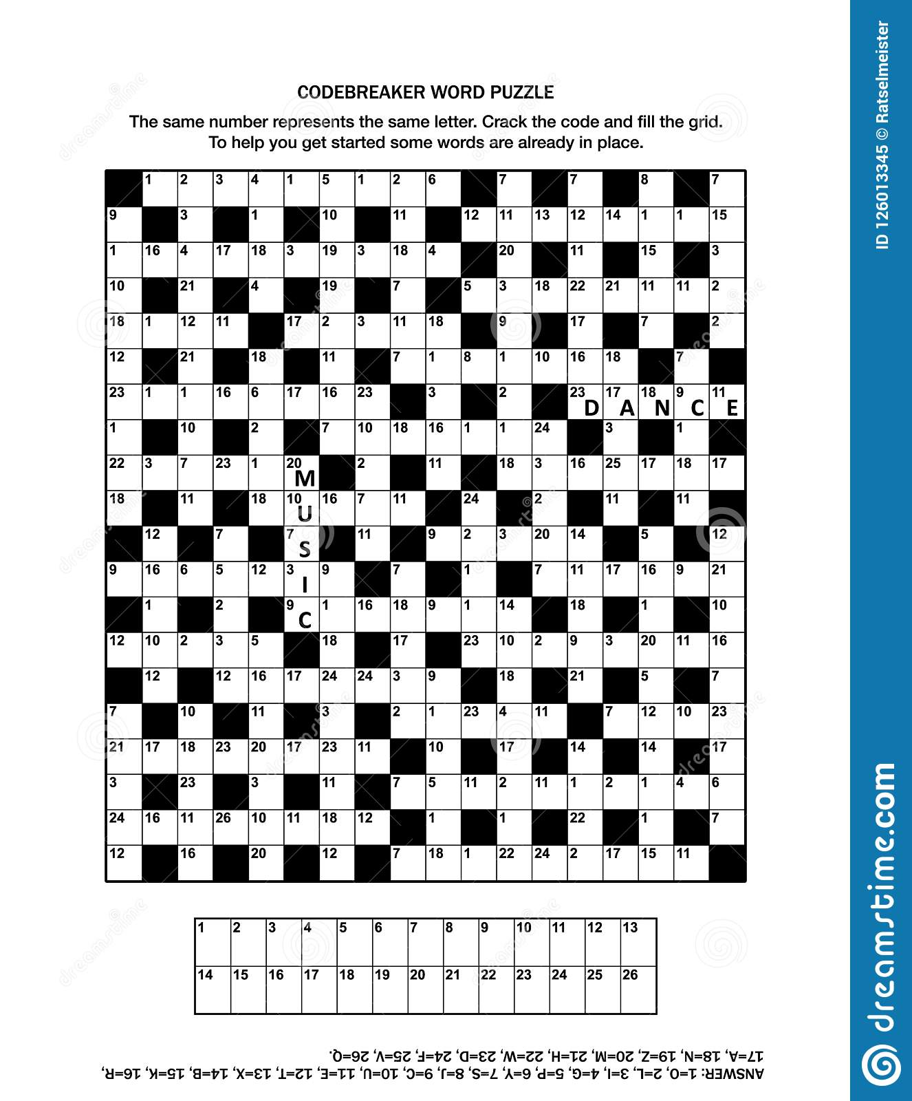 Puzzle Page With Codebreaker Word Game Or Crossword Puzzle