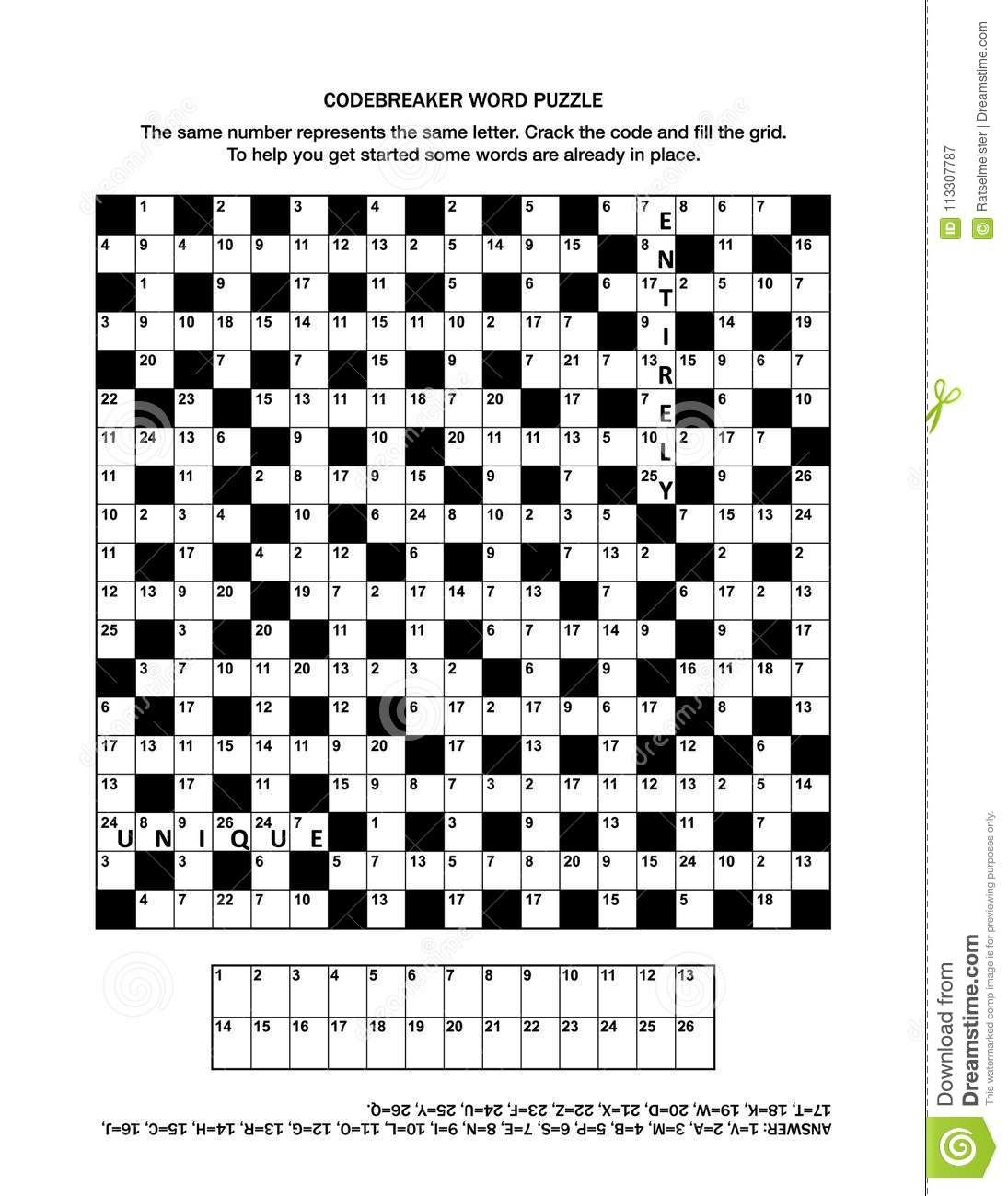 Download Puzzle Page With Codebreaker Word Game Or Crossword Stock Vector