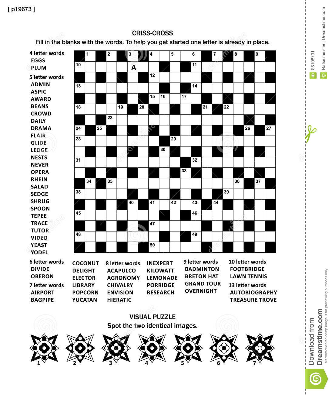 Puzzle Page With Two Puzzles 19x19 Criss Cross Word Game English Language And Visual Whimsical Shapes Black White A4 Or Letter Sized