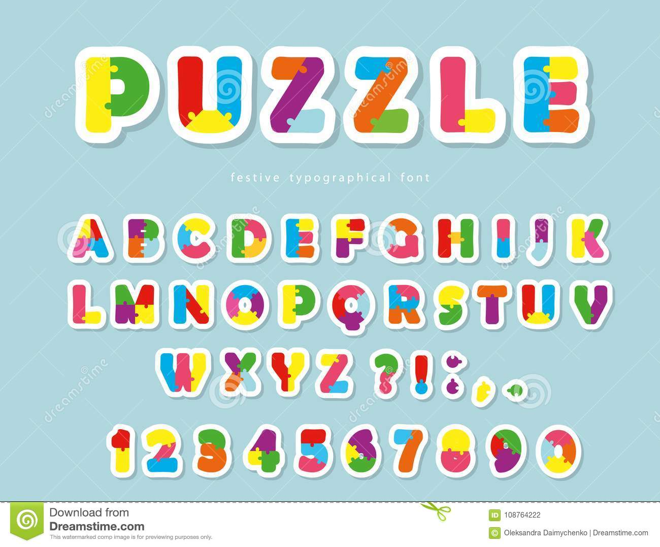 Puzzle Paper Cut Out Font ABC Colorful Creative Letters And Numbers