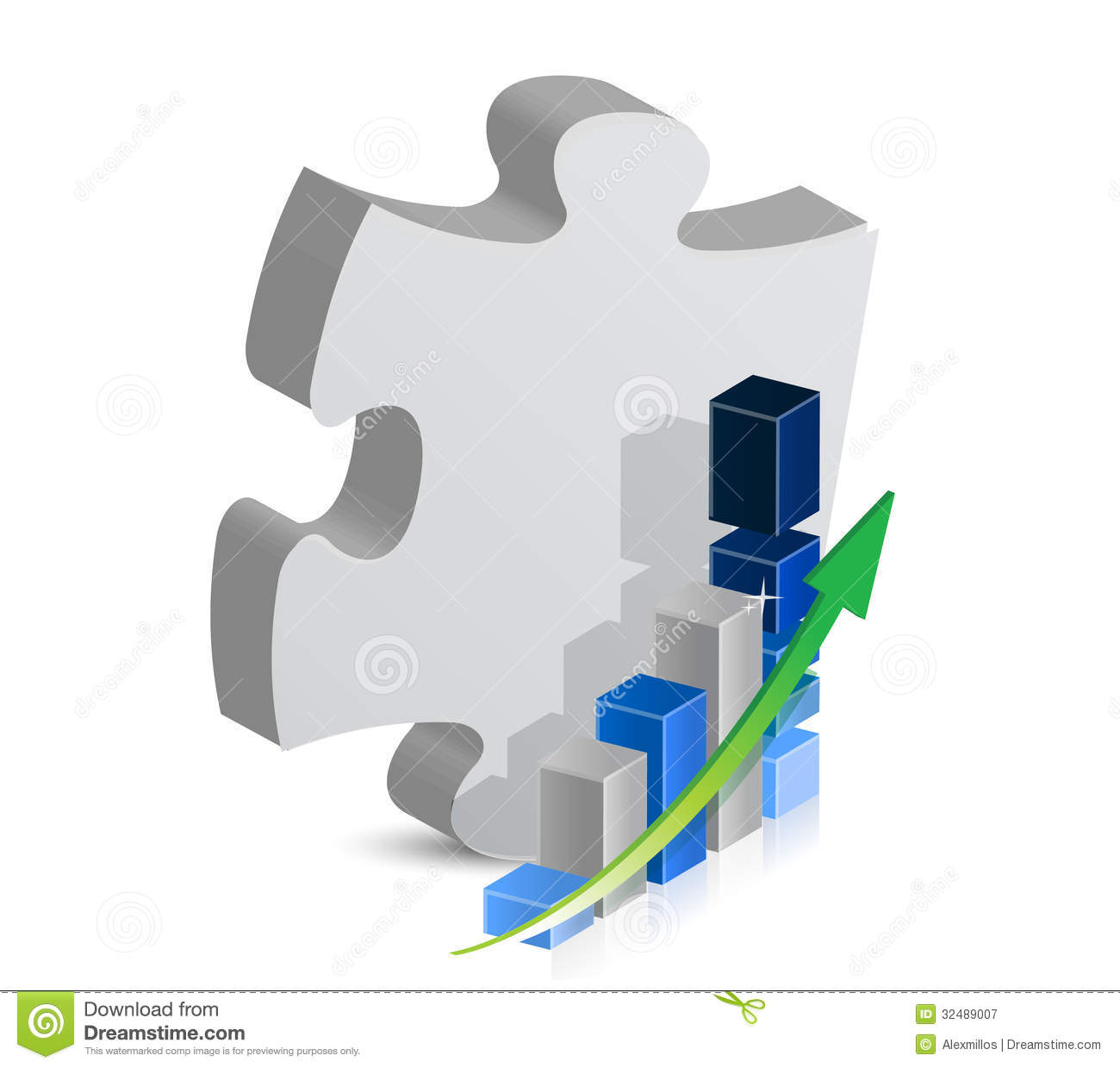 Puzzle Piece And Blue Business Graph Illustration Royalty