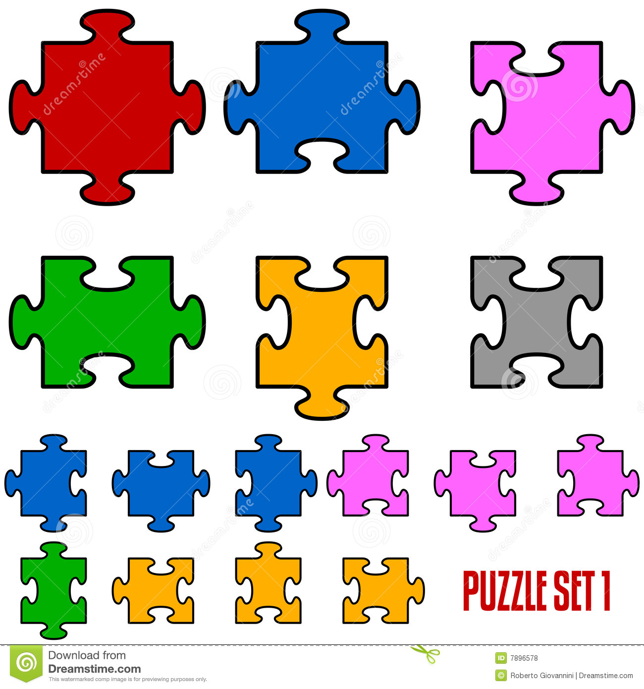 Set of six puzzle pieces in all the positions, isolated on white ...