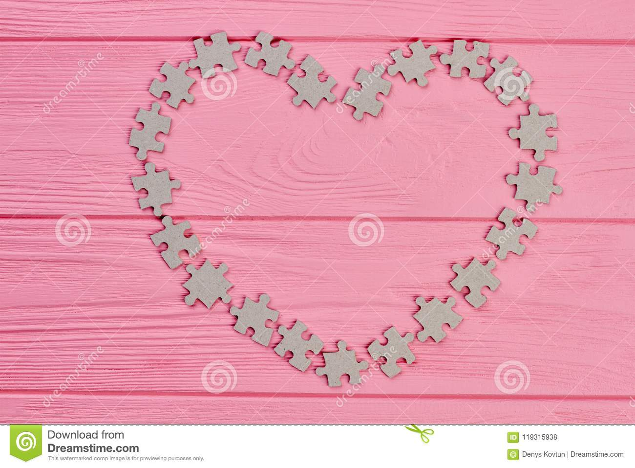 Puzzle Pieces Forming Heart Frame Stock Photo Image Of Nobody