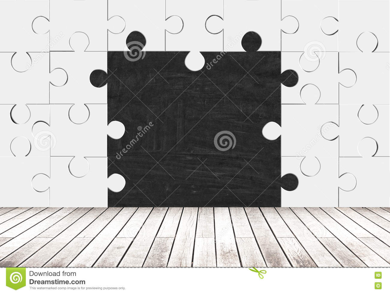 Puzzle Pieces Room And Blackboard Stock Illustration Illustration