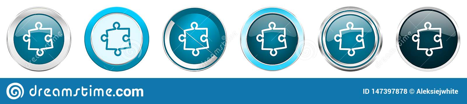 Puzzle silver metallic chrome border icons in 6 options, set of web blue round buttons isolated on white background