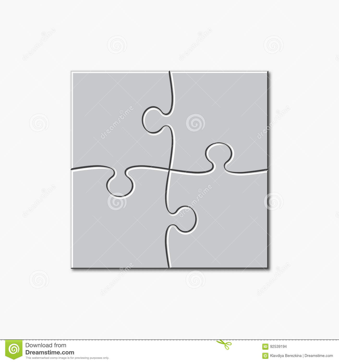 Puzzle Template 2x2 4 Pieces Vector Illustration