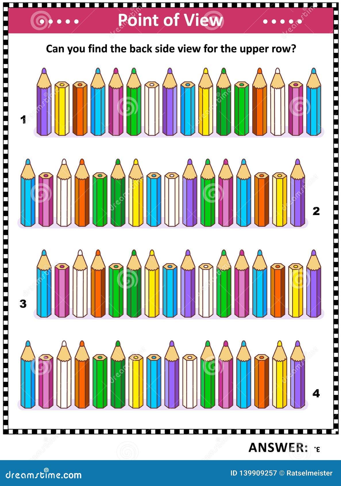 Puzzle visuel de vue d arrière de découverte avec les crayons colorés