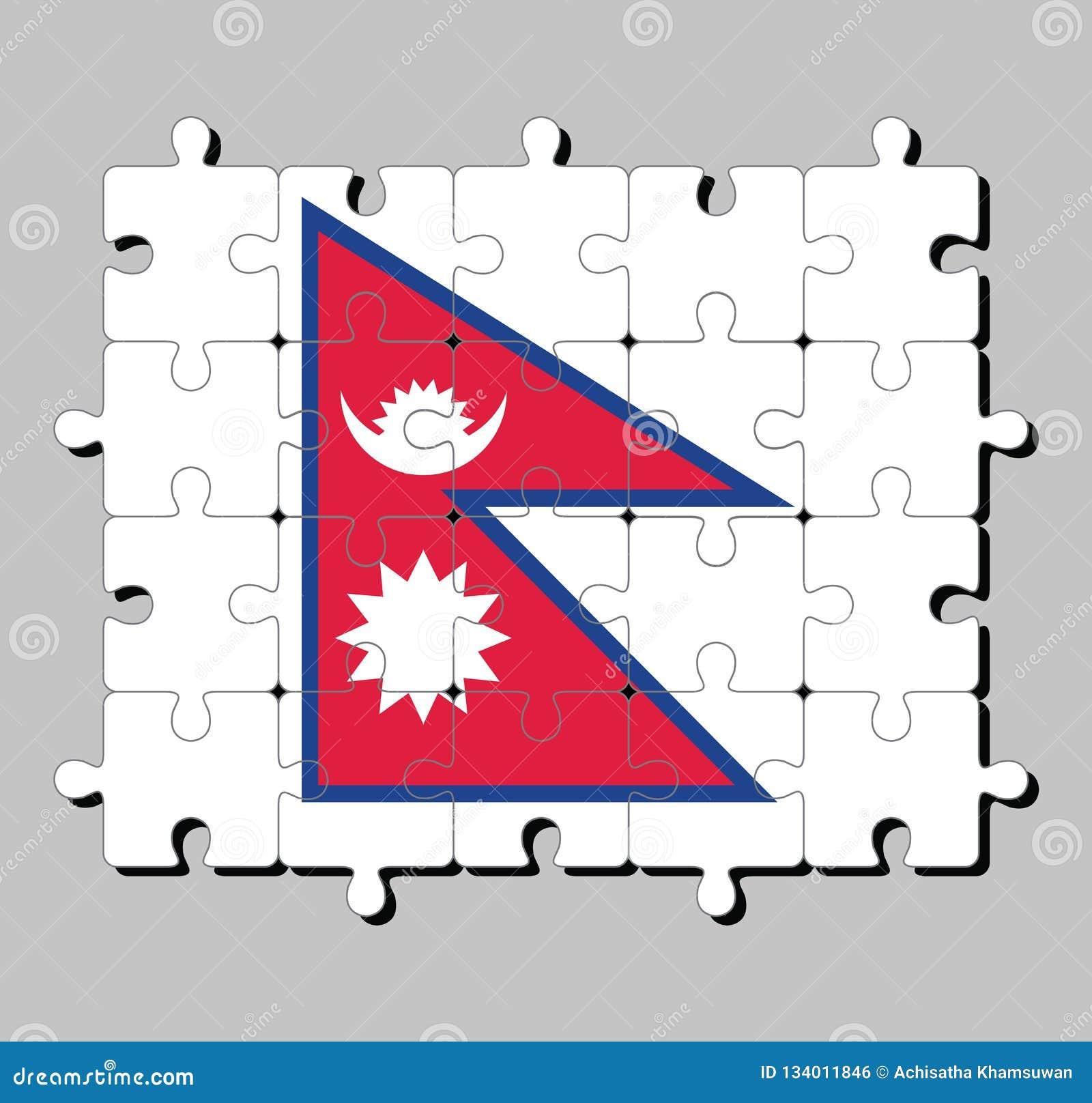 Puzzle von Nepal-Flagge Konzept von Erfüllung oder von Perfektion