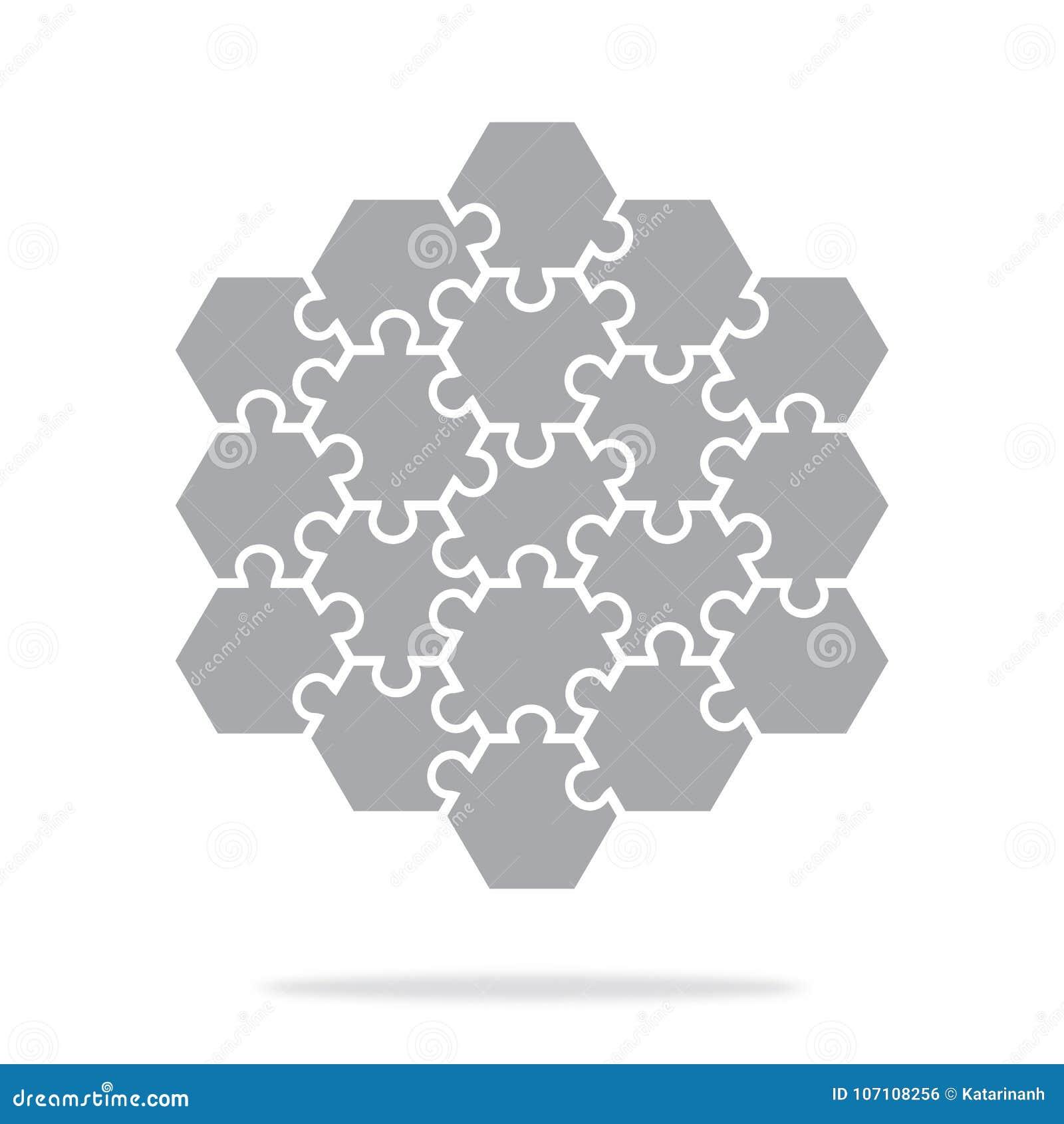 Puzzles hexagonaux d icône simple dans le gris Puzzle simple d icône des dix-neuf éléments