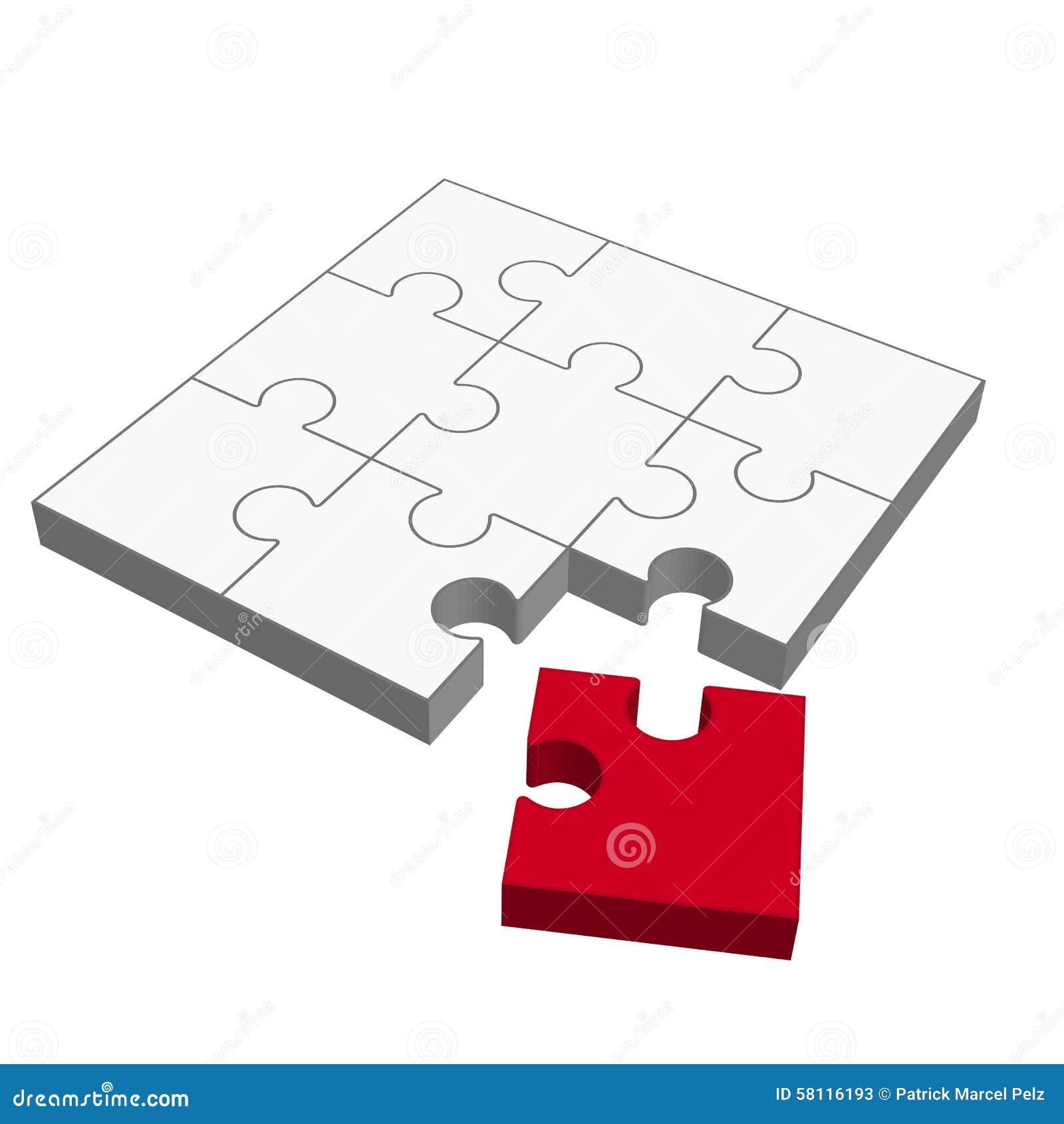 Puzzlespiel 3D - Passt Nicht! Vektor Abbildung