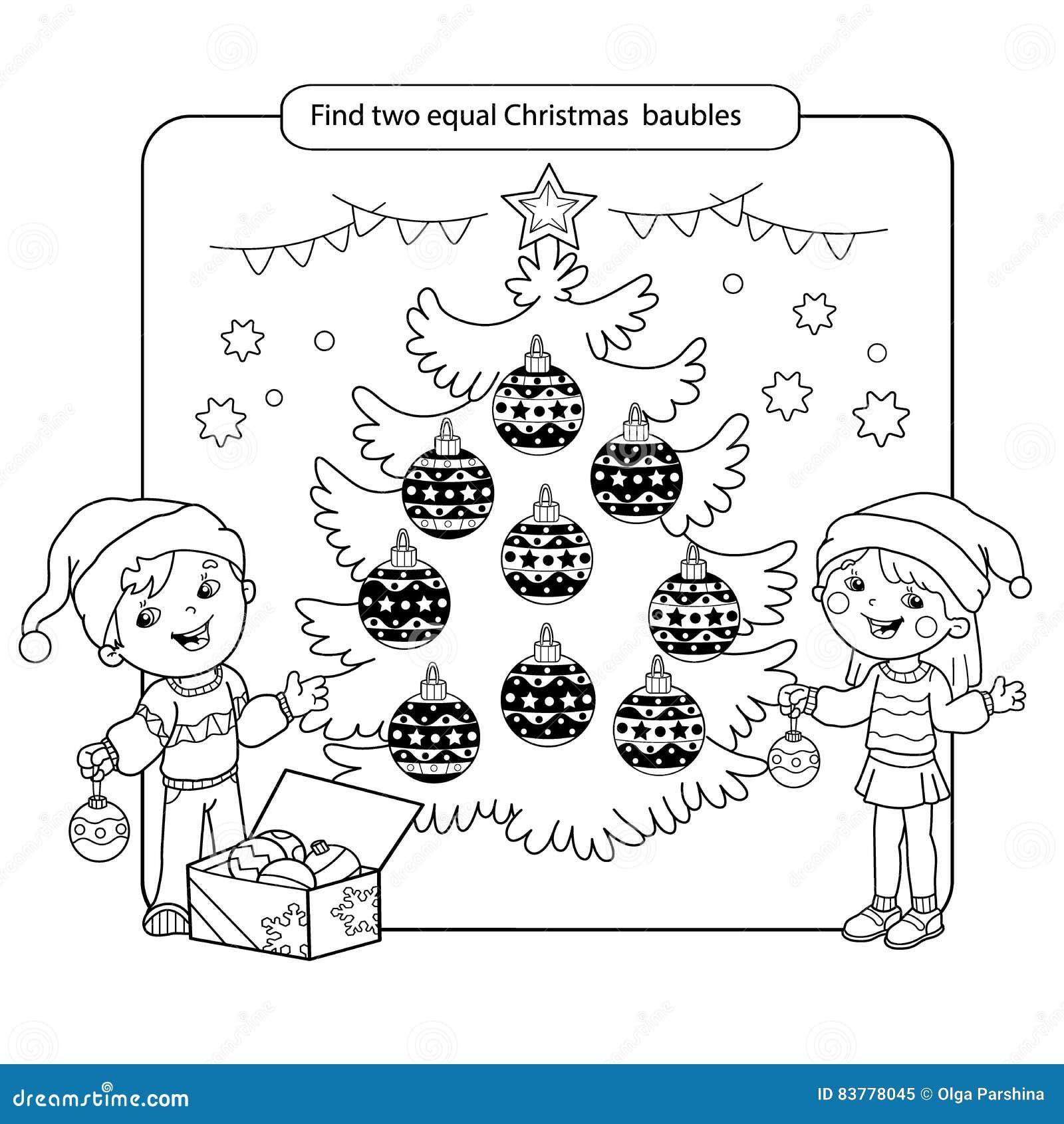Puzzlespiel für Kinder Kinderpsychospiel Sortierte Sachen, zum des Matches zu finden Weihnachtskugeln eingestellt Farbtonseite fü