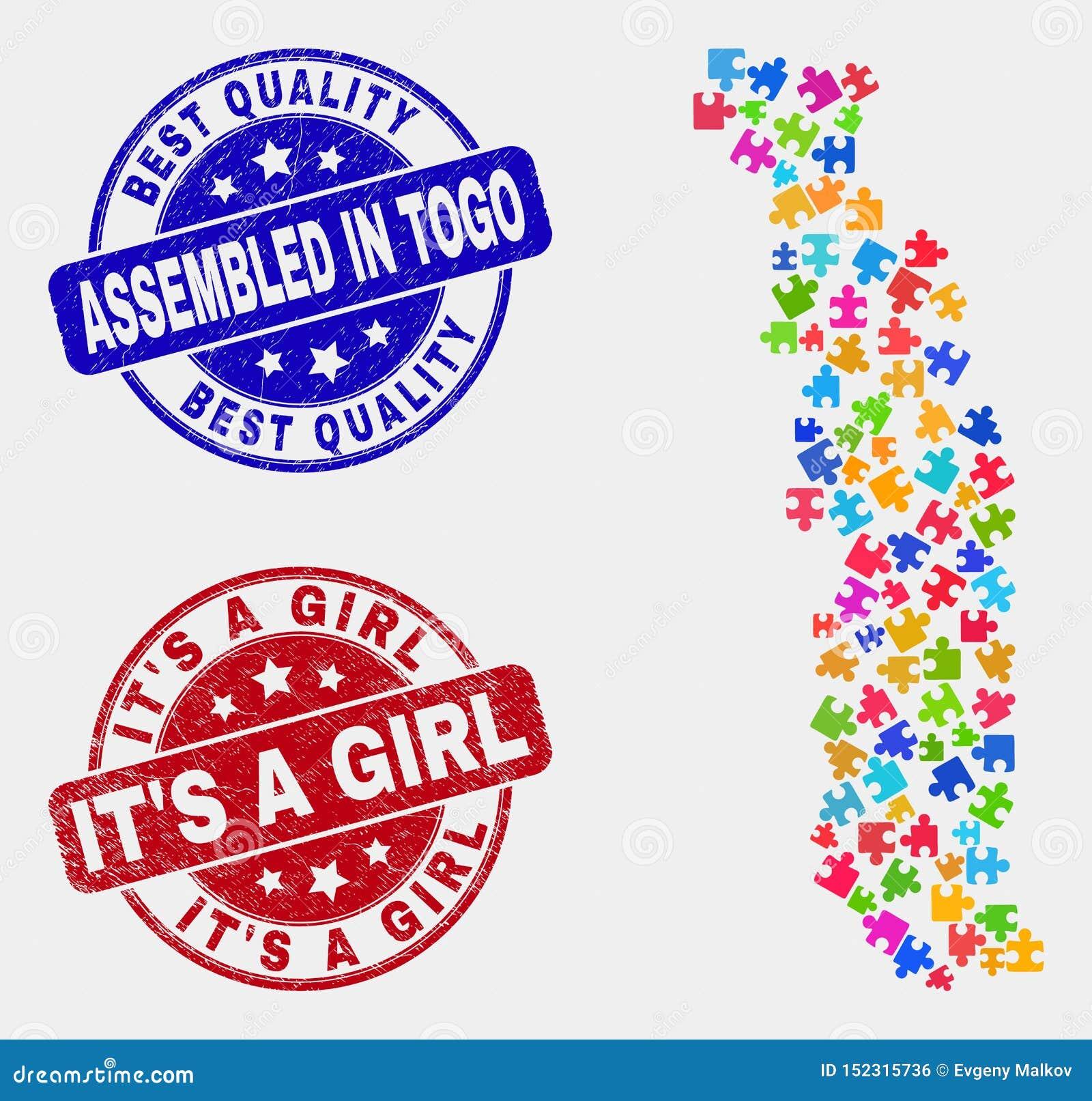 Puzzlespiel Togo Map und der zusammengebaute Schmutz und es sind ein Mädchen-Stempel