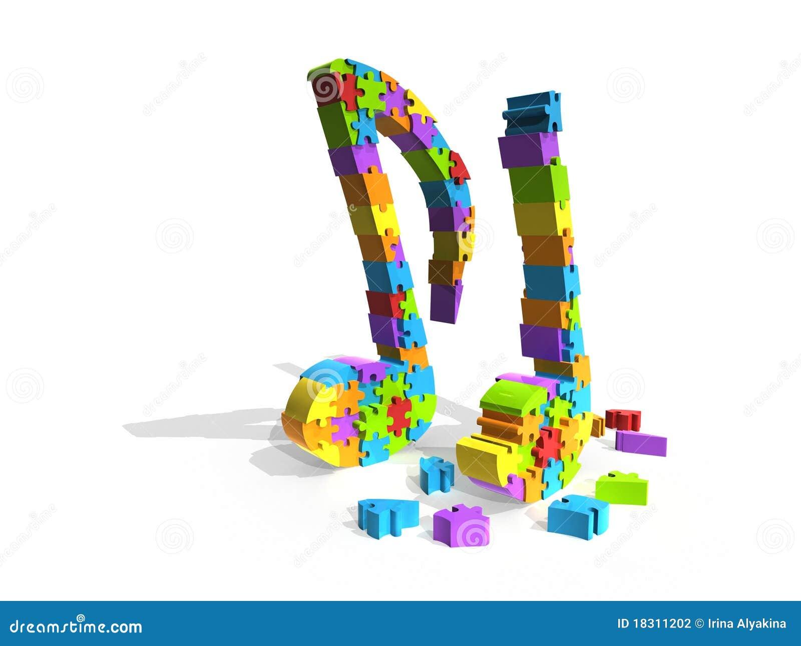 Puzzlespielstück-Musikanmerkungen