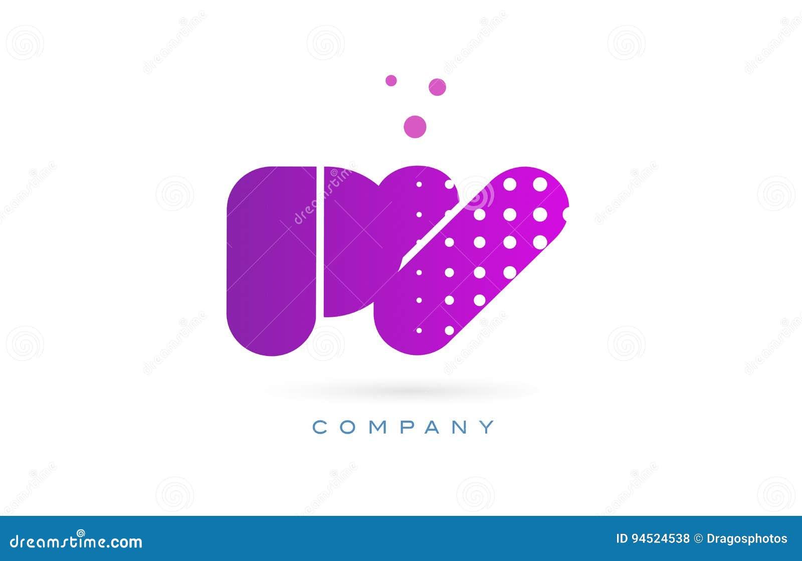 Pv P V Pink Dots Letter Logo Alphabet Icon