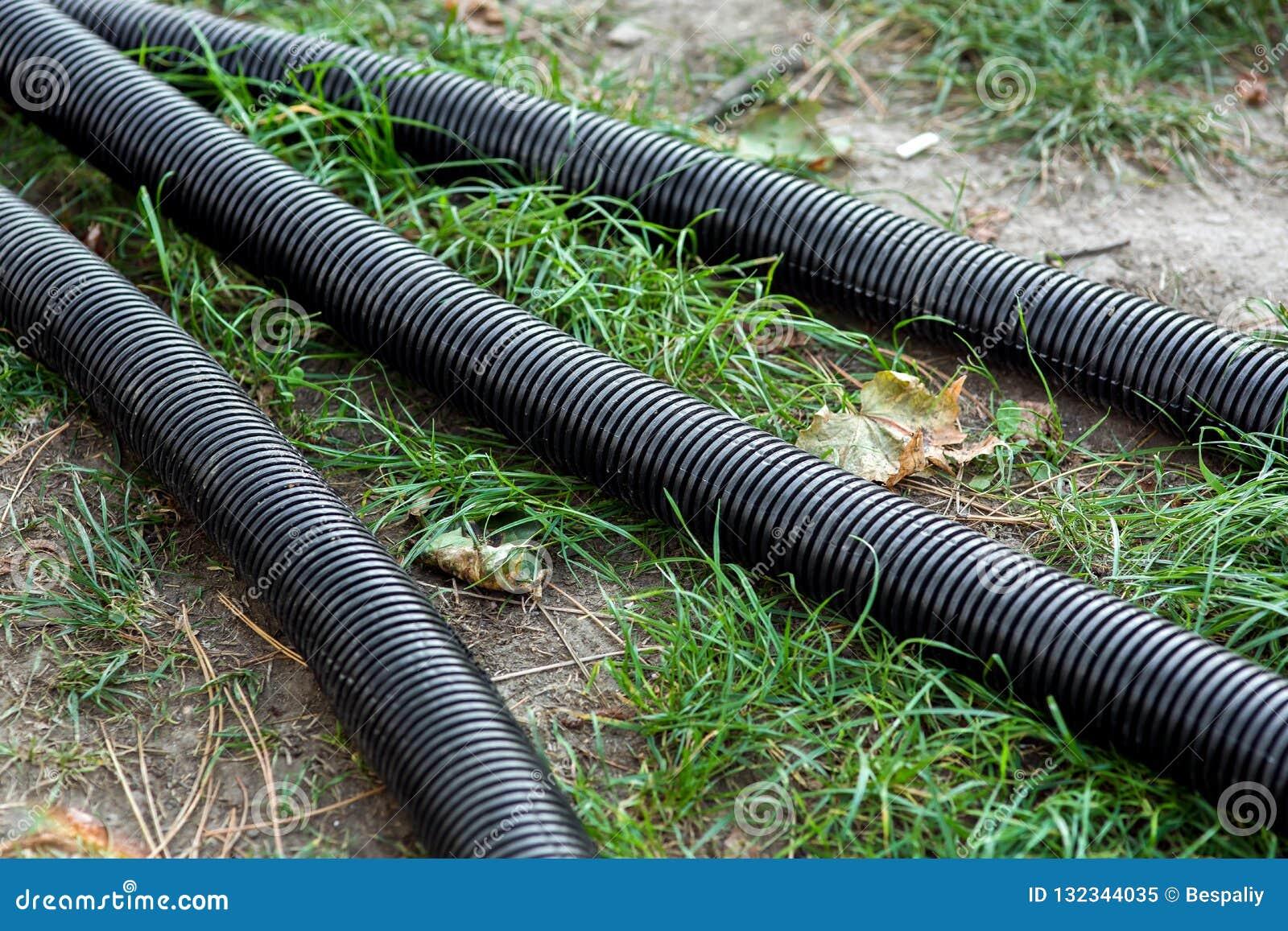 Pvc corrugated pipe black colore.