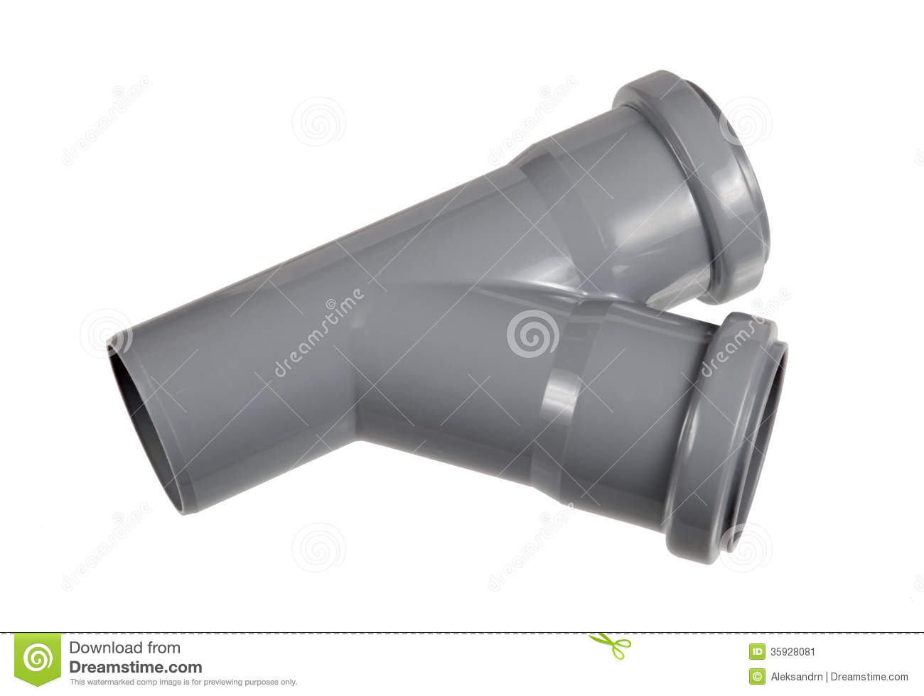 Pvc fitting a draining wye pipe angle stock image