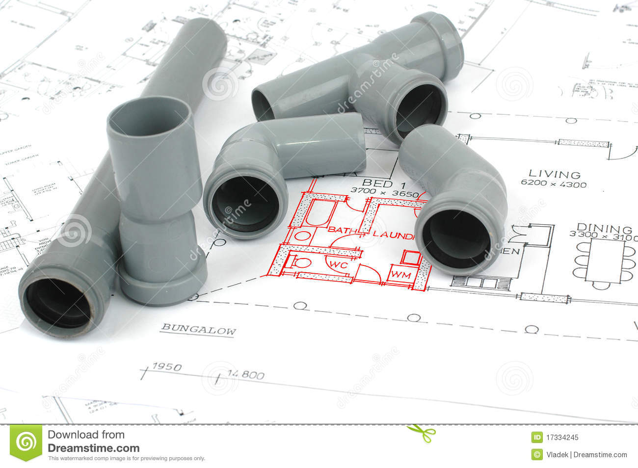 PVC Fittings For Drainage And Plumbing Plans Royalty Free