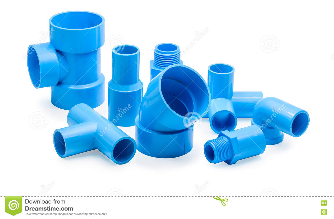 PVC Pipe Connections And Pipe Clip Stock Image - Image of