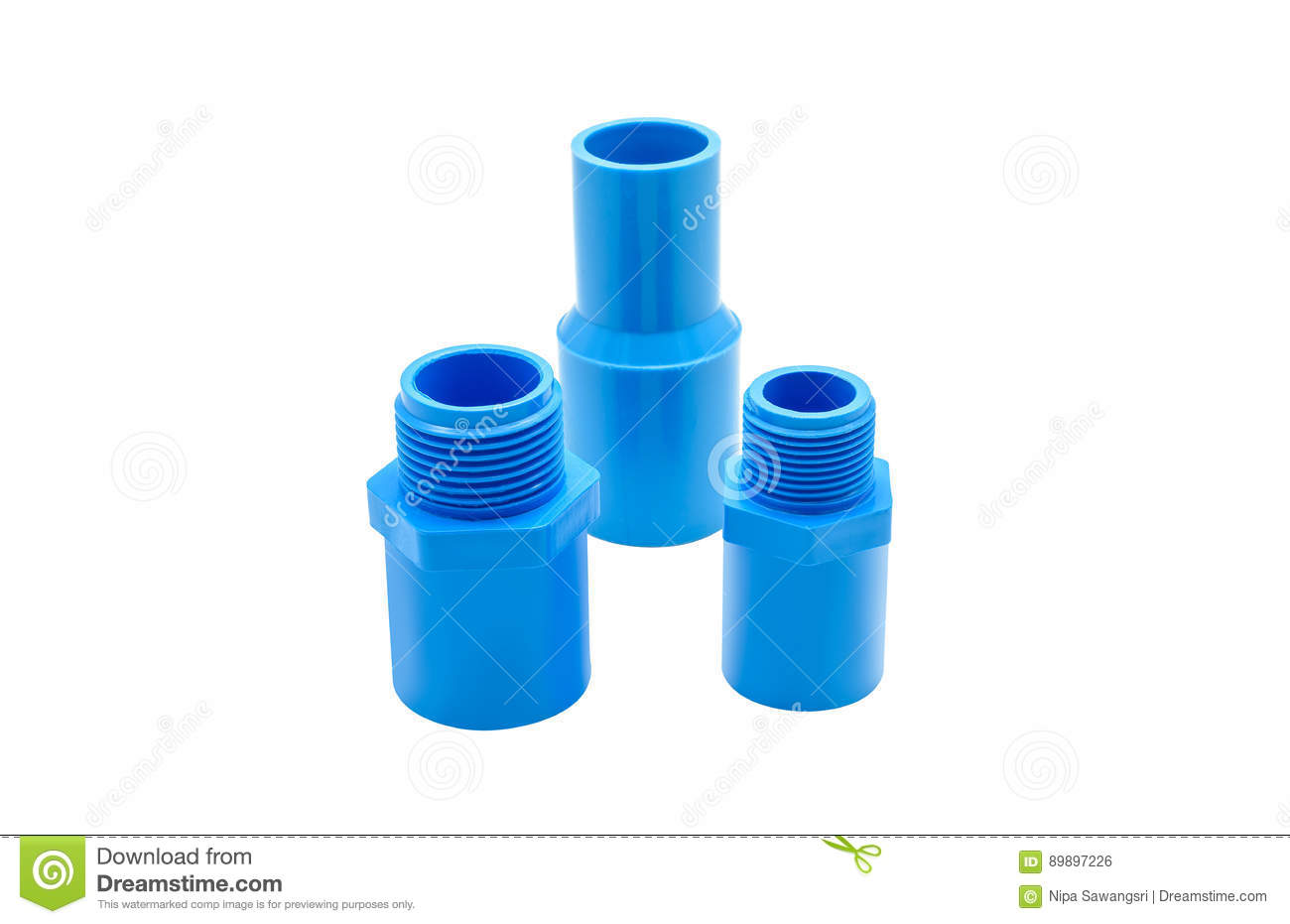 PVC Pipe Connections And Pipe Clip Isolated Stock Photo