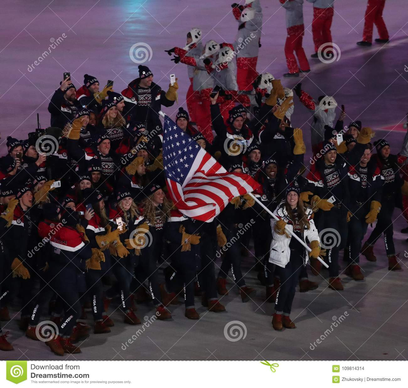 88cf93c6 Olympic Champion Erin Hamlin Carrying The United States Flag Leading ...