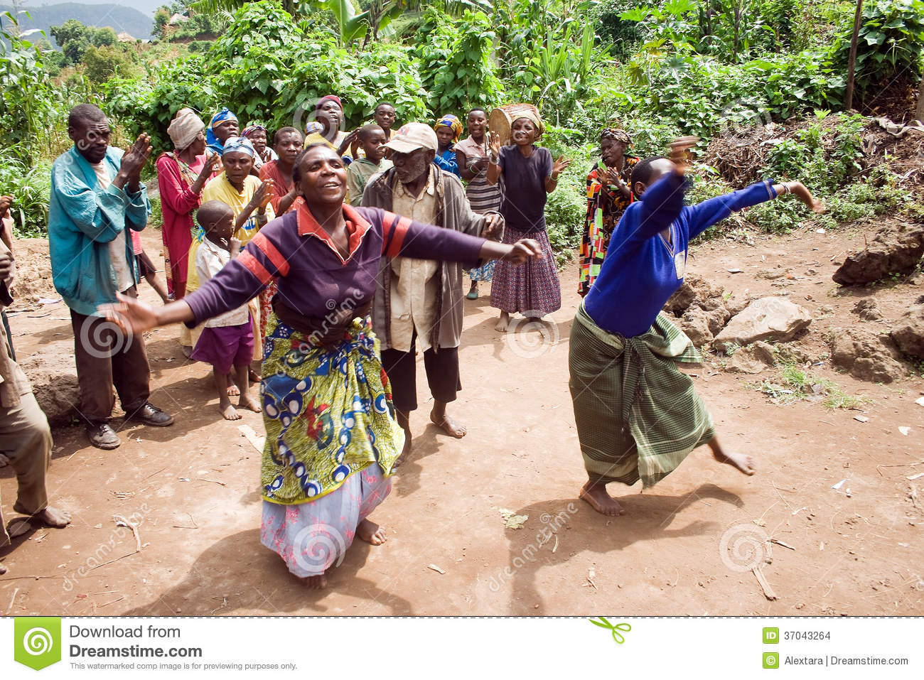 Pygmy People Sing And Dance In Their Village. Editorial ...