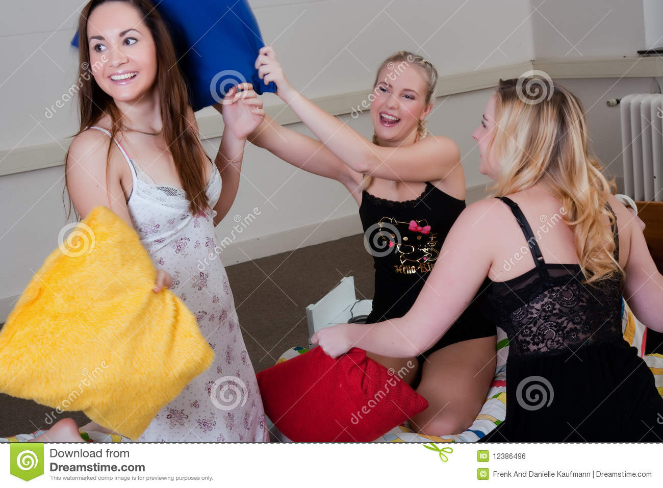 Pyjama Party Ends Up In A Pillow Fight Stock Photo - Image of ...