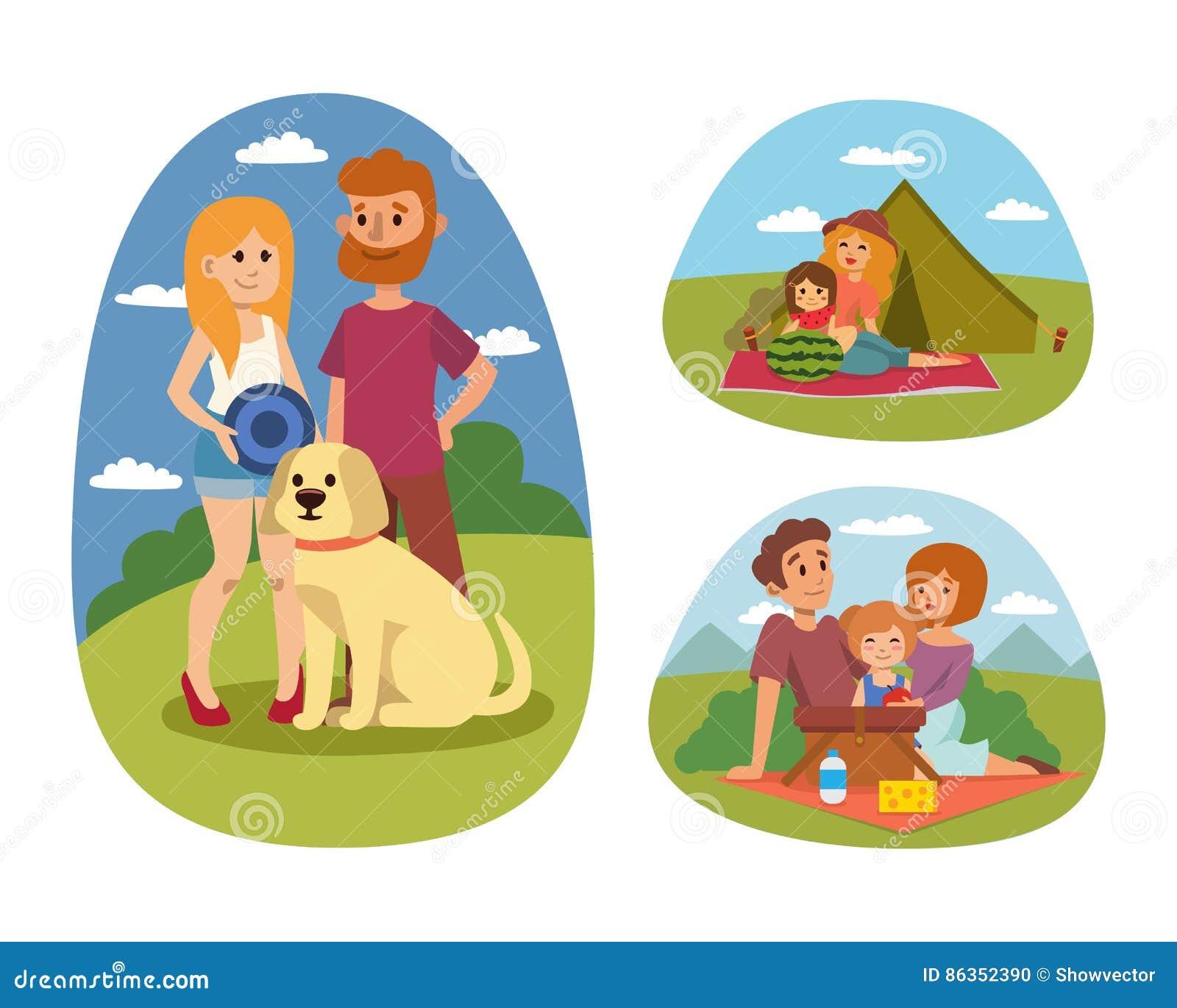 Pykniczny położenie z świeżej żywności koszałki koszykowego grilla pary i lato posiłku przyjęcia odpoczynkowymi rodzinnymi ludźmi