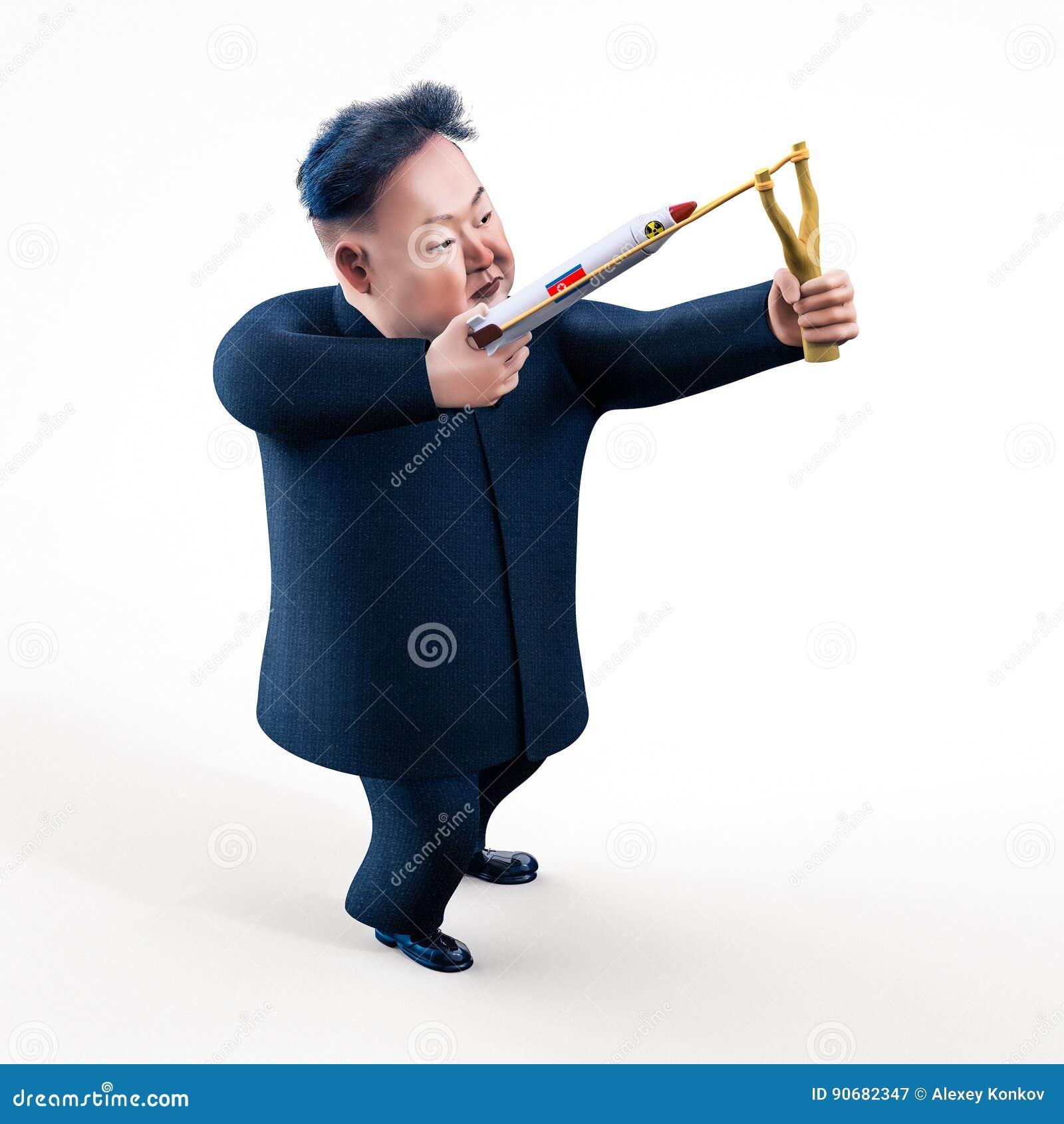 Pyongyang, 11 APRIL, 2017: Noord-Korea dreigt om atoomwapens te gebruiken Karakterportret van Kim Jong Un