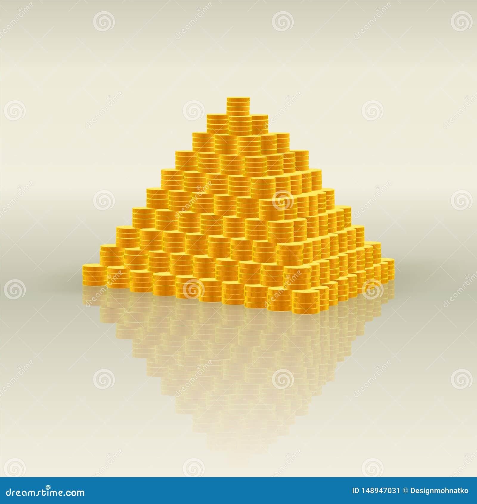 Pyramid av guld- mynt - symbol av rikedom och mycket pengar, finansiell pyramid och bedr?geri