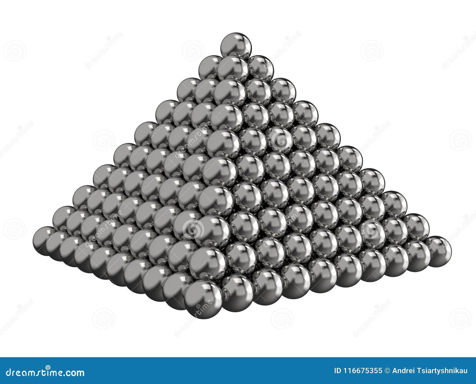Pyramid av stålbollar på en vit bakgrund målat toyvatten för barn färger framförande 3d