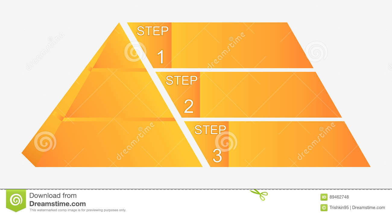 Pyramid Diagram Template Chart With Four Elements Numbers And Text Infographic