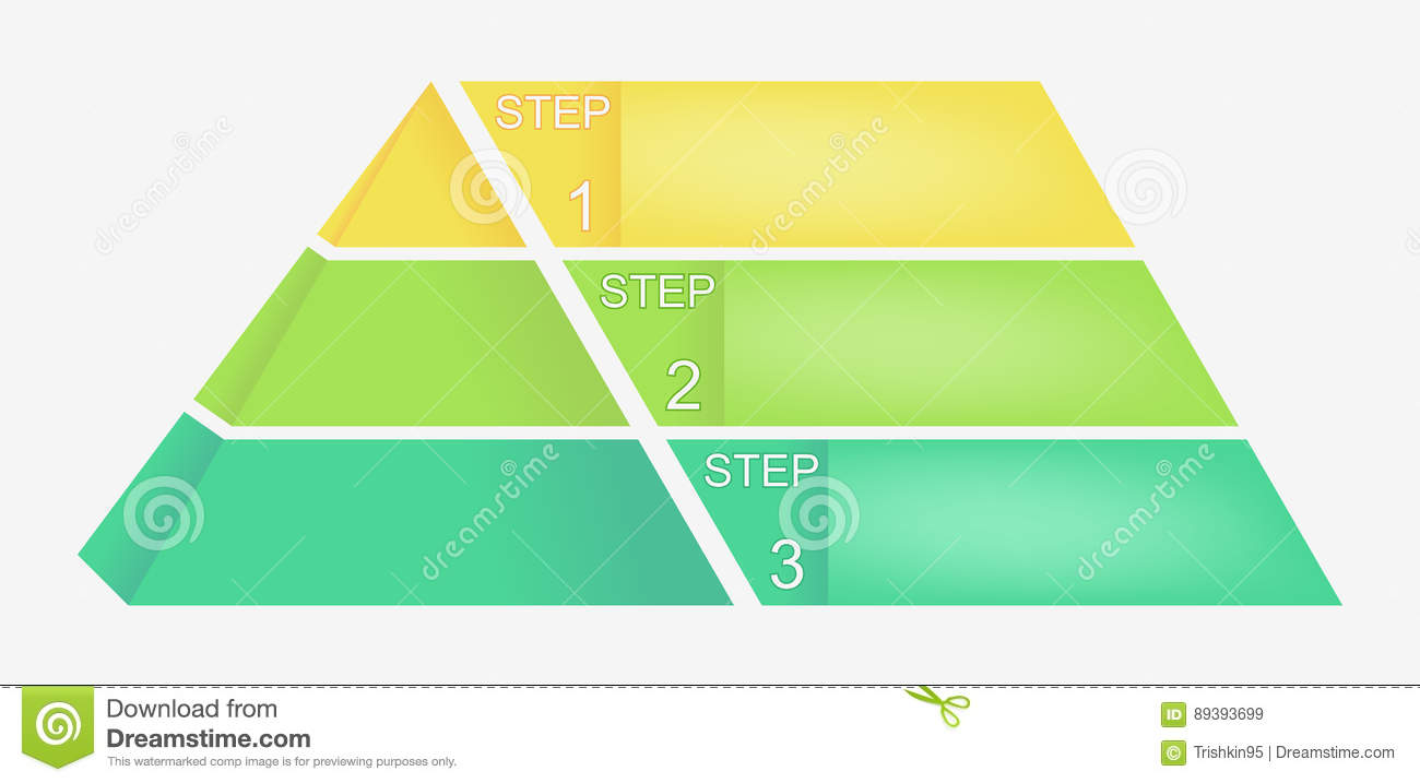 Pyramid Chart With Four Elements Numbers And Text Diagram Template Infographic Vector Eps10