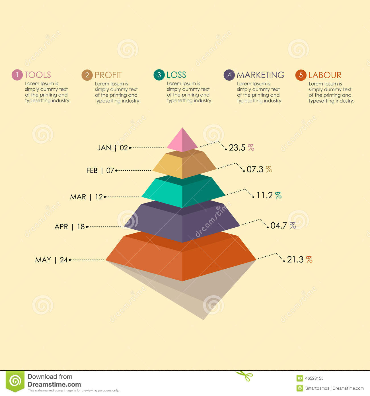 Pyramid Chart Stock Vector. Illustration Of Graph, Chart