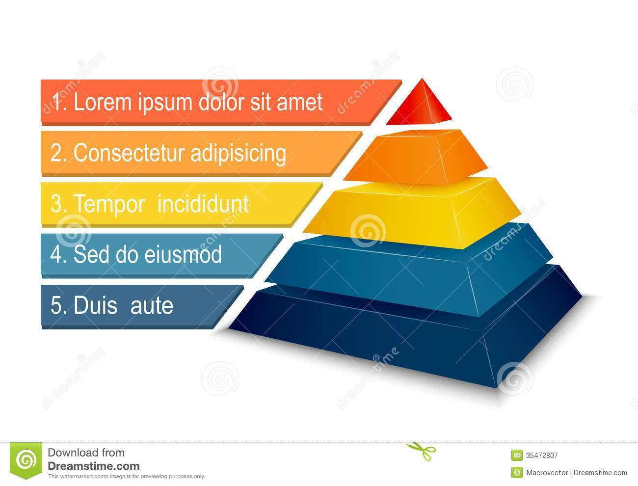 pyramid chart for infographics stock vector illustration of design
