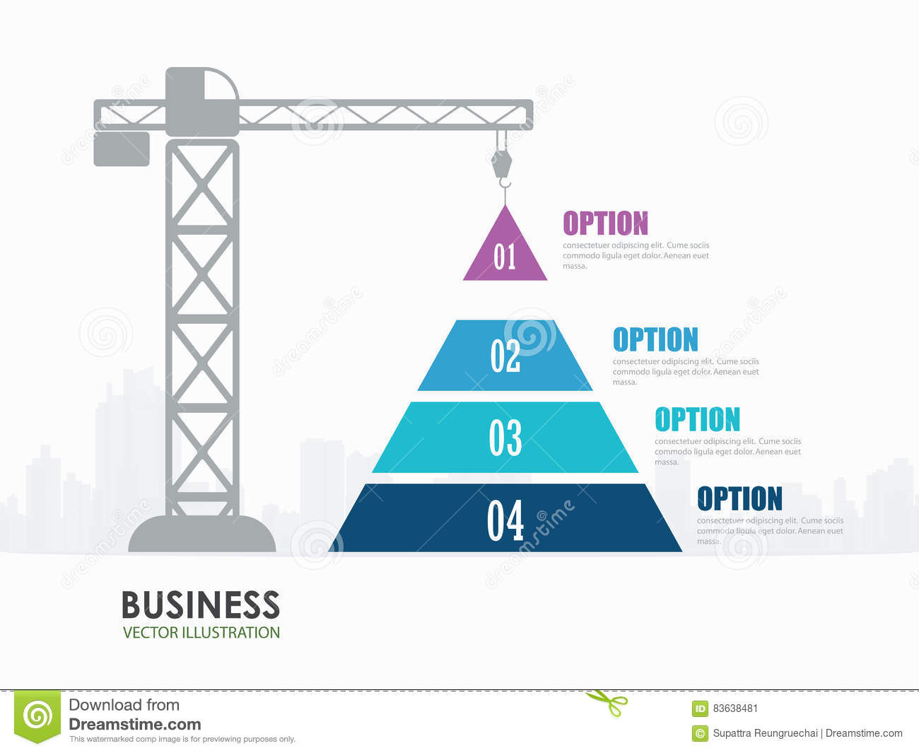 Pyramid chart options construction infographics stock for Construction info