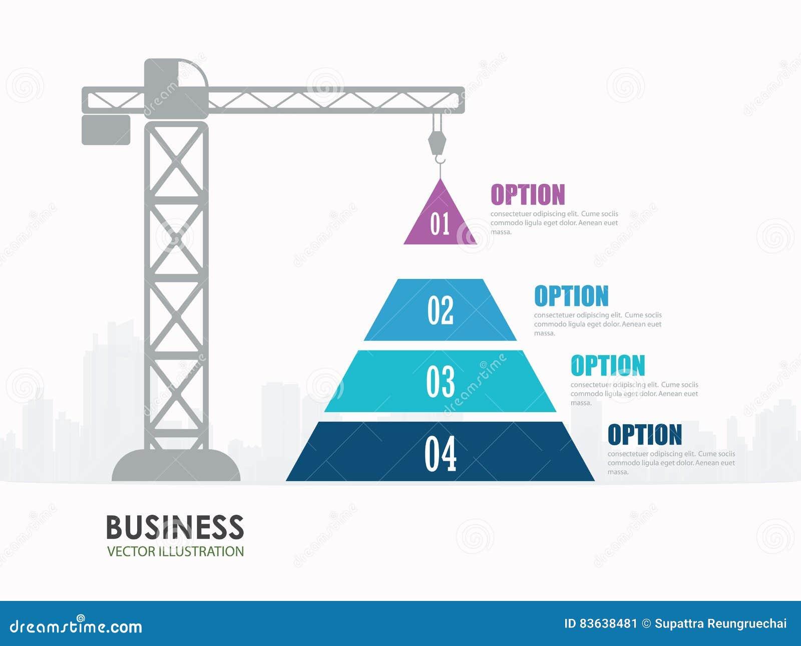Pyramid Chart Options Construction Infographics Stock
