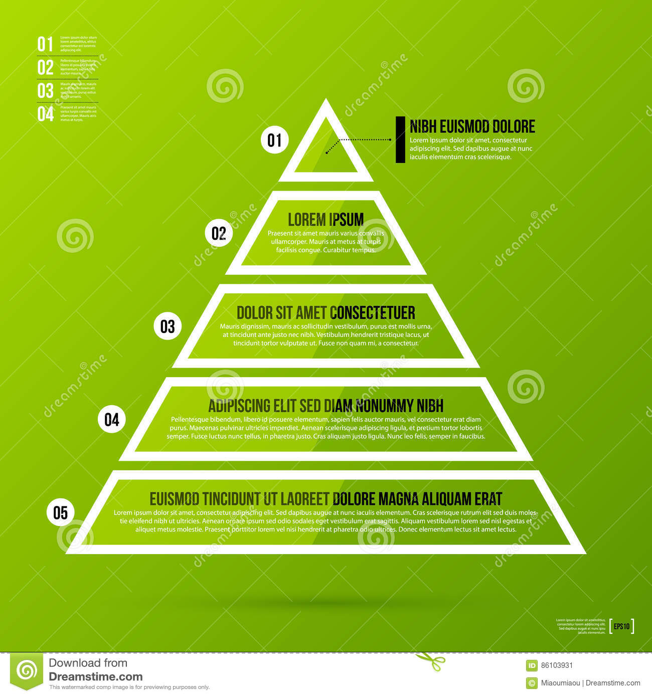 Pyramid Chart Template On Fresh Green Background Stock Vector Diagram