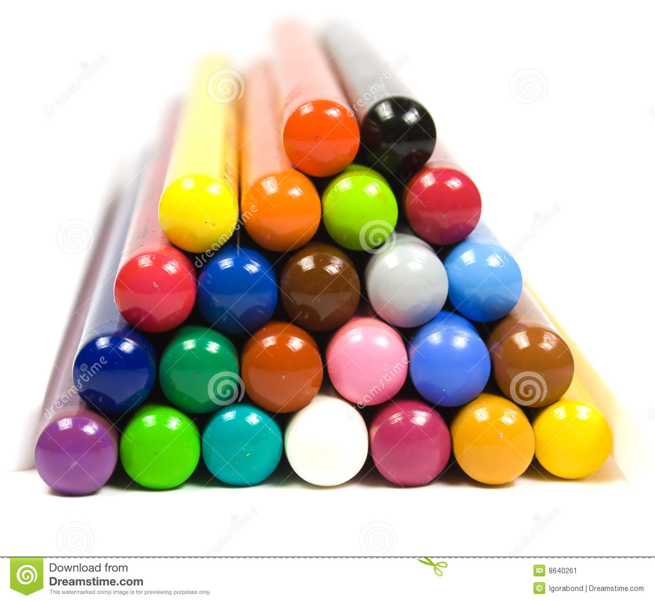 pyramid from children u0027s color pencils stock image image 8640261