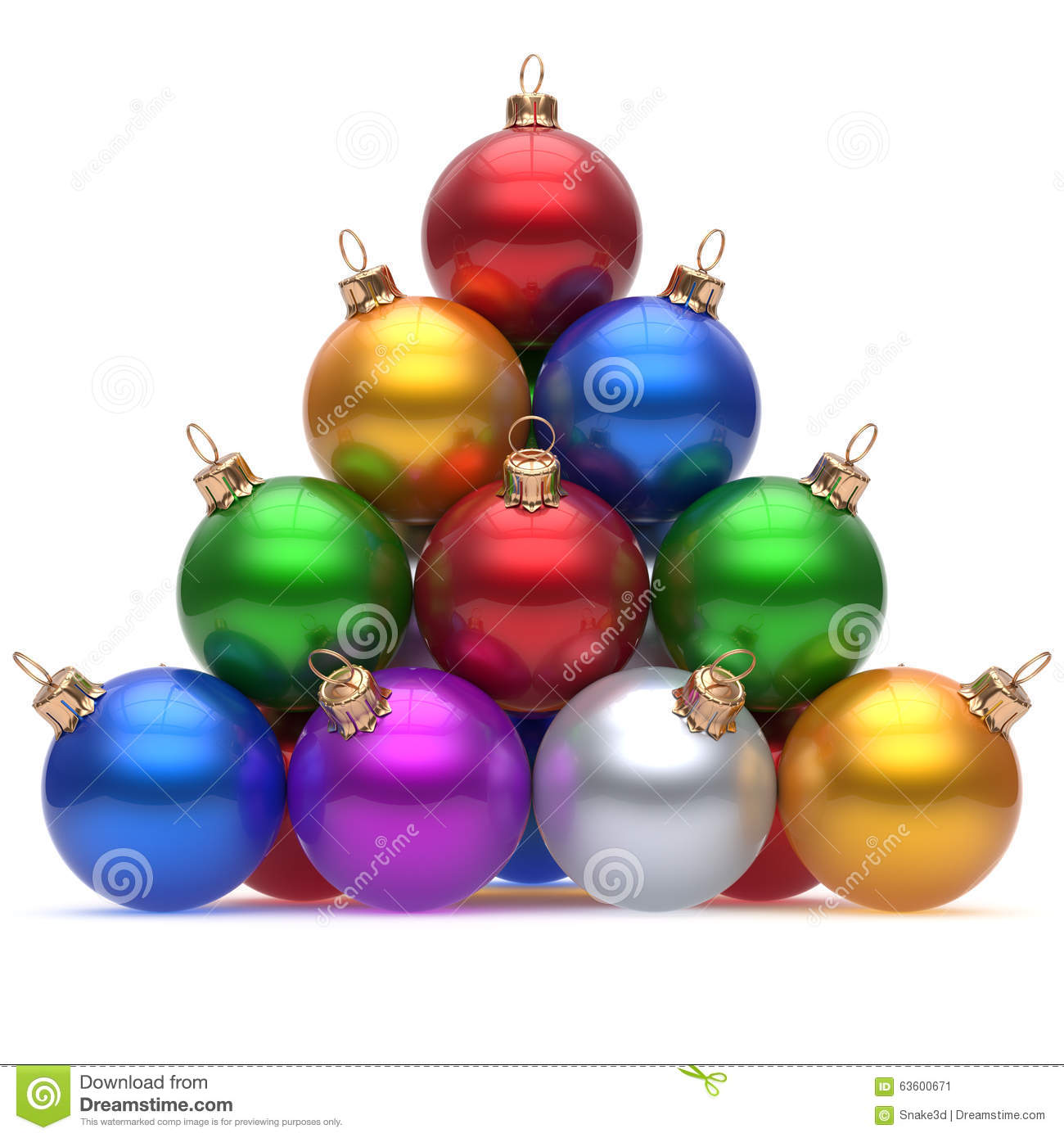 Pyramid christmas ornament - Pyramid Christmas Ball Multicolored Red On Top New Year S Eve
