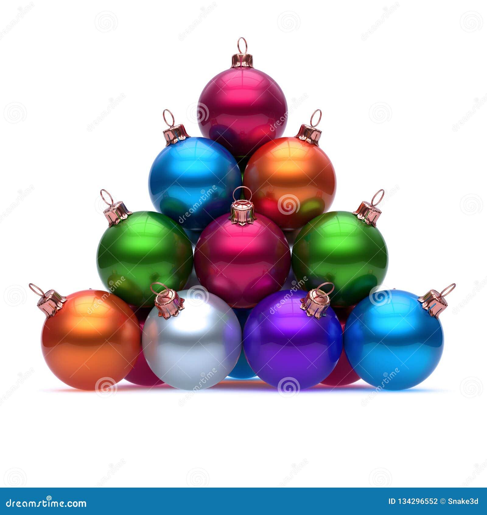 Pyramid of Christmas balls colorful red blue orange purple green