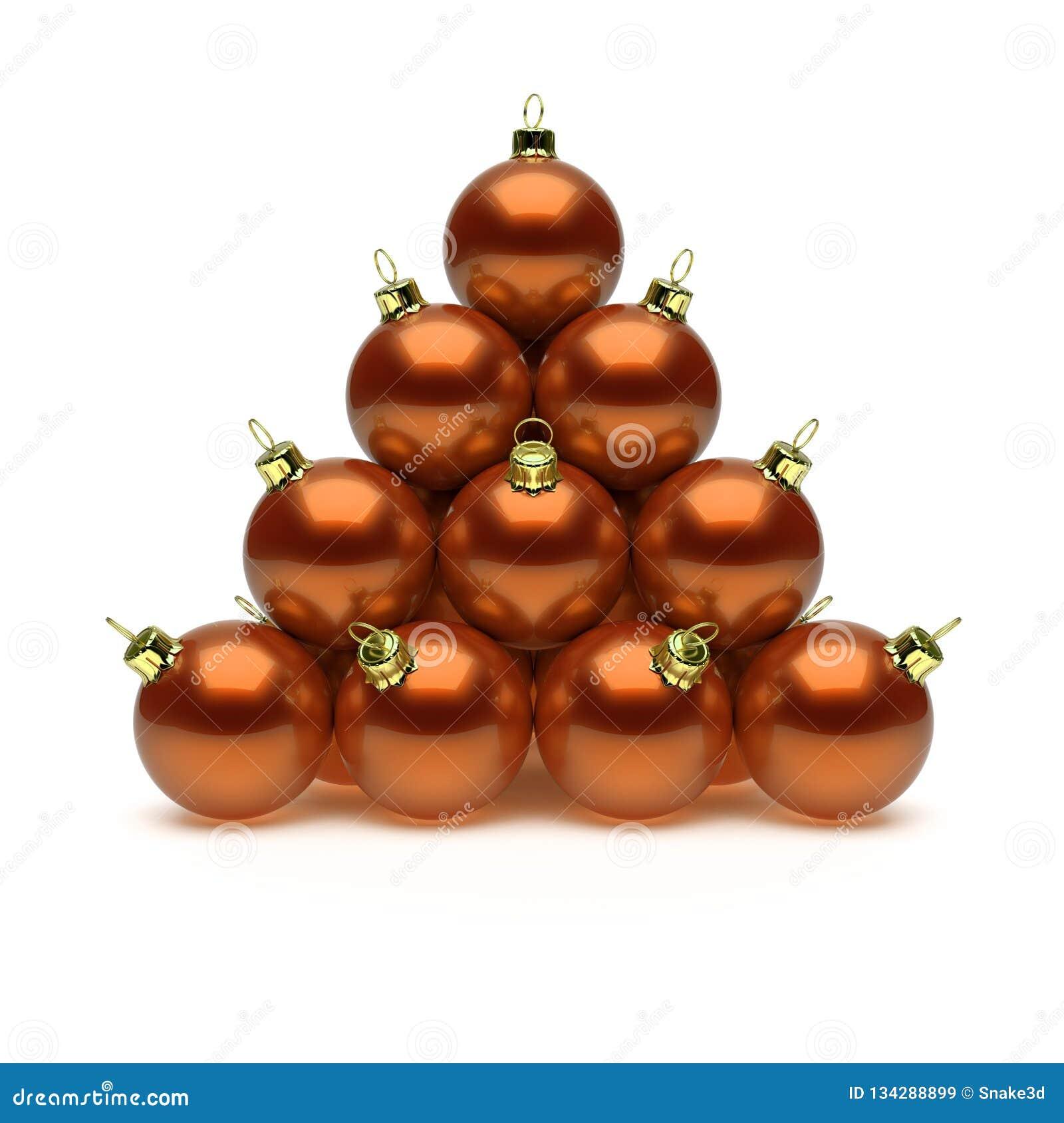 Pyramid of Christmas balls orange shiny golden