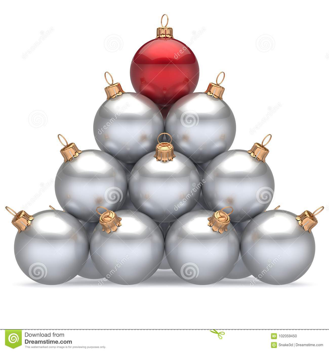 Pyramid christmas balls white leader red on top first place win