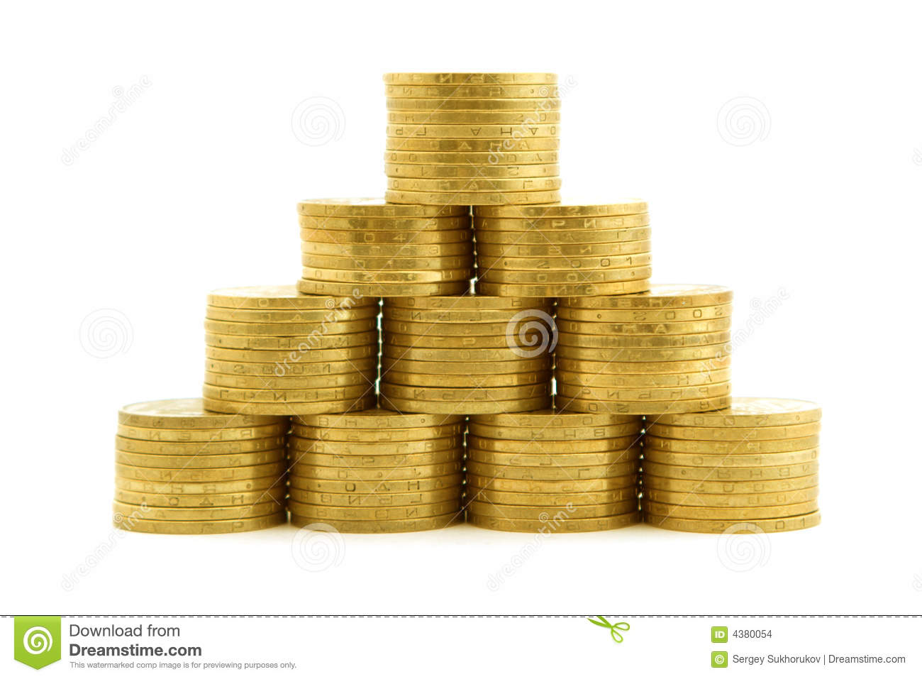 A pyramid from coins. isolated 2